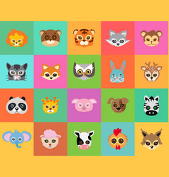 Animal carnival collection of cartoon masks vector