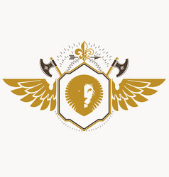 retro insignia design decorated with eagle wings vector image