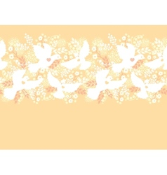 Wedding doves among flowers horizontal seamless vector