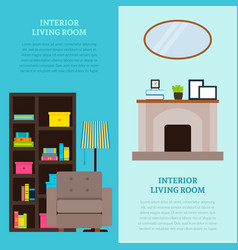 Living room interior design vertical banners vector