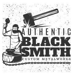 Monochrome vintage blacksmith template vector