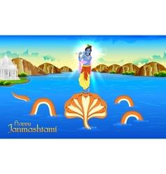 Krishna dancing on kaliya naag vector