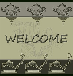 Pattern with greeting contoured hands and teapots vector