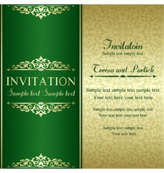Baroque invitation gold and green vector