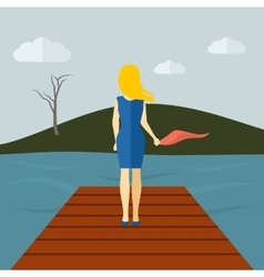 Lonely girl flat vector