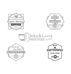 Vintage photography badges labels monochrome vector