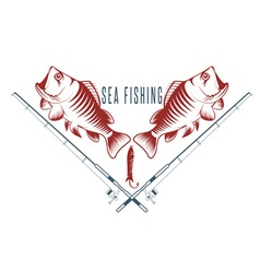 Sea fish vintage with sea bass vector