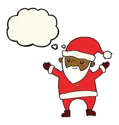 Cartoon dancing santa with thought bubble vector
