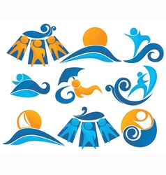 Wave surf sunbathing vector
