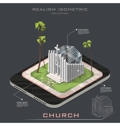 Isometric realistic church on earth vector
