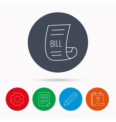 Bill icon pay document sign vector