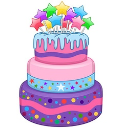 Three floors cake with stars vector