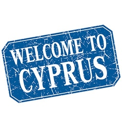 Welcome to cyprus blue square grunge stamp vector
