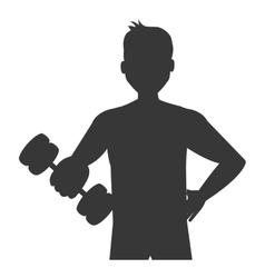 Cartoon avatar man with dumbbells graphic vector