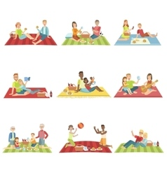 People on picnic outdoors vector