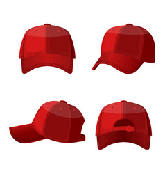 baseball white caps in front side and back view vector image vector image