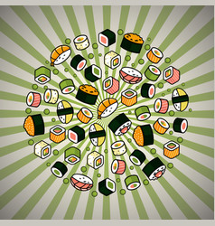 big rounded sushi set vector image vector image