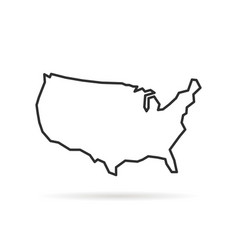 black thin line usa icon with shadow vector image