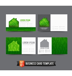 Business card template set 021 green house ecology vector