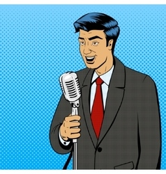 Businessman with microphone pop art vector image vector image
