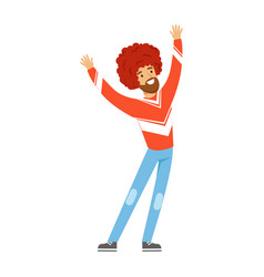 Cheering football fan character in red wig vector
