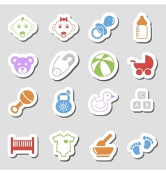 Color Baby Icons as Labes vector image
