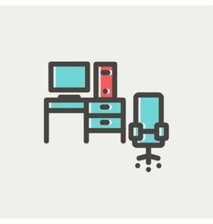 Computer set with table and chair thin line icon vector image