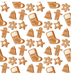 cookie traditional christmas food seamless pattern vector image