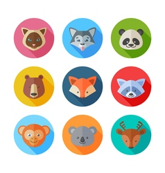 Cute flat animals portraits icons vector image vector image