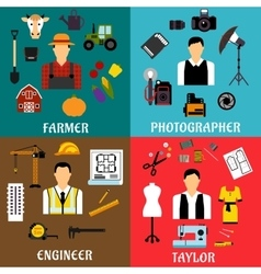 Farmer engineer photographer and tailor icons vector image