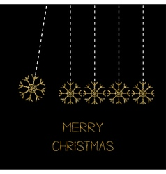Five hanging snowflakes dash line gold glitter vector