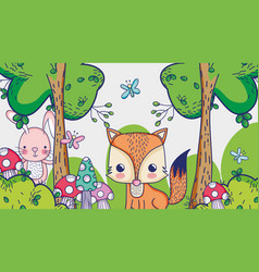 Fox in the forest doodle cartoons vector