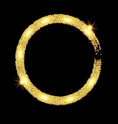 Gold glitter circle banner with stars vector image vector image
