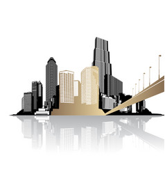 Golden cityscape with skyscrapers - light version vector