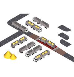 Grain truck isometric vector