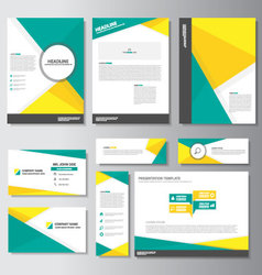 Green yellow brochure flyer leaflet banner set vector