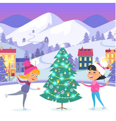 happy children on icerink near christmas tree vector image vector image