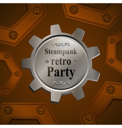 Invitation flyer on retro steampunk party vector image