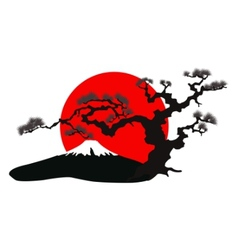 japanese landscape silhouette vector image vector image