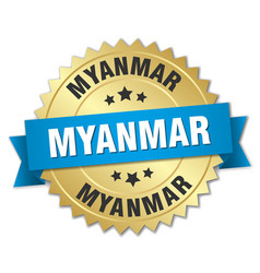 Myanmar round golden badge with blue ribbon vector