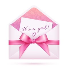 Pink baby shower envelop with bow vector