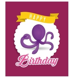 Purple octopus balloon happy birthday card vector