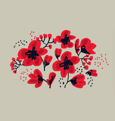 red floral drawing in freehand style vector image vector image