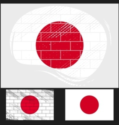 Scratched flag of Japan vector image vector image