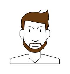 Sketch color silhouette half body man bearded vector