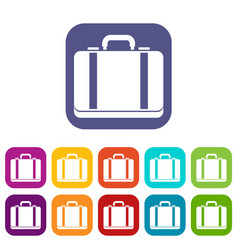 Suitcase icons set vector