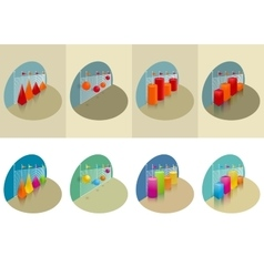 Two sets of graphs for repots oe presentation vector image vector image