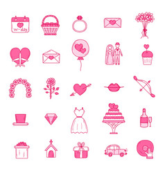 wedding outline icons vector image vector image