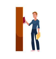 young man taking picking a book from bookcase vector image vector image