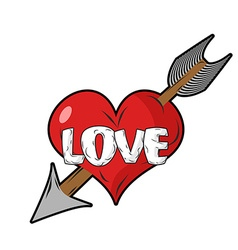Red heart and arrow of cupid emblem for vector